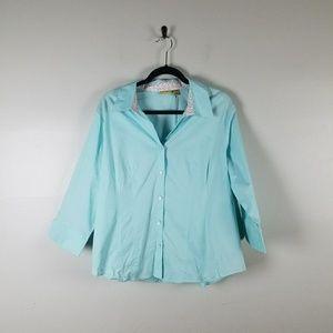 Caslon blue Button front blouse size 1X